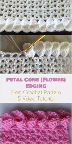 Petal Cone (Flower) Edging for Afghans [Free Crochet Pattern and Video Tutorial] Beautiful edging for afghans, blankets. See more our FREE crocheting patterns.