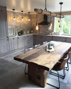 full rustic kitchen We are want to say thanks if you like to share this post to . - full rustic kitchen We are want to say thanks if you like to share this post to another people via - Home Decor Kitchen, Interior Design Living Room, Home Kitchens, Rustic Kitchens, Country Kitchen, County Kitchen Ideas, Kitchen Post, Ranch Kitchen, Design Interiors