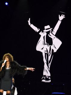 Whitney Houston performing a Michael Jackson tribute in Newcastle as part of her arena tour in 2010.