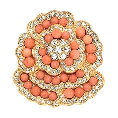 This brooch is a rendering of original sold at Sotheby's famous 1996 auction… Jacqueline Kennedy Jewelry, Jackie Kennedy, Coral And Gold, Coral Orange, Coral Jewelry, Fine Jewelry, Diamond Brooch, Flower Brooch, Jewelry Collection