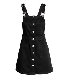 Denim dungaree dress | Black | Ladies | H&M AU