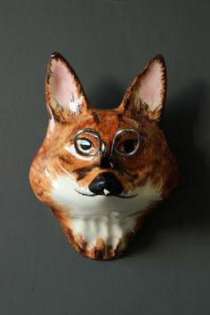 The Wall Mounted Ceramic Fox String and Scissor Holder - Hand Made in England