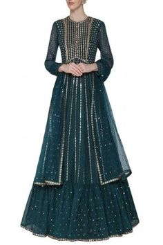 Vvani by Vani Vats Featuring a teal anarkali gown in georgette base with sequin hand embroidery and frills at the bottom. It is paired with matching dupatta Teal Embroidered Anarkali Gown with Dupatta Party Wear Long Gowns, Party Wear Indian Dresses, Pakistani Dresses Casual, Indian Gowns Dresses, Pakistani Bridal Dresses, Indian Wedding Outfits, Pakistani Dress Design, Eid Dresses, Bridal Lehenga