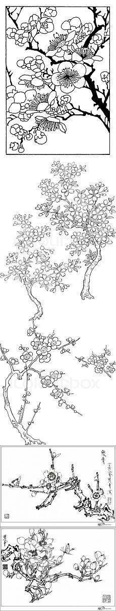 Сакура. Трафарет для росписи | БАТИК и Я