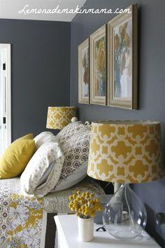 Gray Bedroom Ideas, Gray Master Bedroom Ideas, Purple and Gray Bedroom Paint Ide… – Top Trend – Decor – Life Style Bedroom Color Schemes, Bedroom Colors, Home Decor Bedroom, Yellow Gray Bedroom, Grey Bedroom With Pop Of Color, Bedroom Colour Schemes Inspiration, Colourful Bedroom, Yellow Rooms, Bedroom Brown