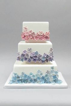 Beautiful Cake Pictures: Tiers of Tiny Pastel Flowers on White Cake - Birthday Cake, Flower Cake, Wedding Cakes - Fondant Flower Cake, Cupcake Cakes, Fondant Cakes, Fondant Bow, Car Cakes, Fondant Tutorial, Fondant Figures, Flower Cakes, Bolo Floral