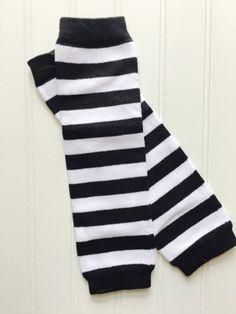 Black and White Striped Cotton Leg Warmer