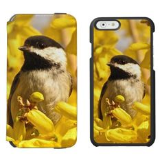 Bird in Yellow Flowers iPhone 6 Wallet Case Incipio Watson™ iPhone 6 Wallet Case. Here is a floral iPhone 6 wallet case featuring an adorable black and white chickadee among gold and yellow forsythia flowers. The image is on both the inner case and the outer wallet. This sweet little bird is one of the friendliest creatures in the animal kingdom. A great idea for gardeners or birders!