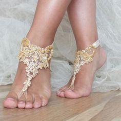Çıplak ayak plaj düğün inci & # 039 sandalet, altın plaj düğün sandalet çıplak ayak