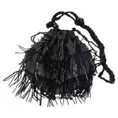 Accessorize black/silver fabric bag with beaded tassels 34 inch shoulder strap