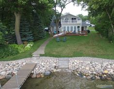 Our Work - Riprap Shoreline Photo Gallery Lake Landscaping, Landscaping Retaining Walls, Lake Dock, Docks Lake, Boat Dock, Pool Cover Roller, Lakeside Living, Outdoor Living, Haus Am See
