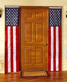 Set of 2 Door Flags Patriotic American 4th of July Party Banner Americana Decor & Patriotic Red White Blue American USA Us Flag Star Stud Post ... pezcame.com