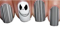 Halloween Nail WRAPS Nail Art Water Transfers Decals Jack Skellington ADHW007