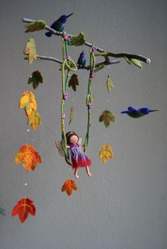 Autumn fairy mobile felted waldorf inspired by naturechild on Etsy, $160.00 leaves felted thin like tissue... maybe nuno on silk chiffon?