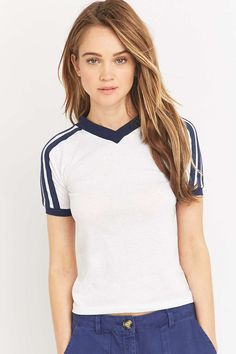 Urban Renewal Vintage Surplus Three-Stripe White T-shirt