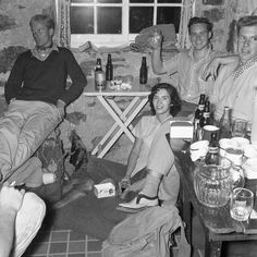 Hut life hasn't changed much over the years!  Relaxing after the Mt. Victoria Ski Race  at the Plain of Six Glaciers Teahouse 1956 featured last week as part of the #RockiesThrowback Heritage Series in partnership with the @whytemuseum .  Photo by Bruno Engler Courtesy of The Whyte Museum of the Canadian Rockies V190 / I.A.i.a. - 4 / NA - 13  #MountainCultureElevated #share