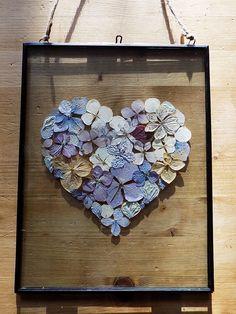 Pressed Flower Picture: 'Hydrangea Heart'. Hand-made, unique pressed flower art. Valentine's gift for her. by HomeFlowerGarden on Etsy