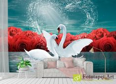 Photo wallpaper, Animals - Swans and roses - All wallpapers shown on the site are printed on a firm order, according to the customer's size, the chosen image and the desired texture. Wallpaper Please, Any Images, Photo Wallpaper, Fresco, Flamingo, Latex, Canvas, Rose, Outdoor Decor