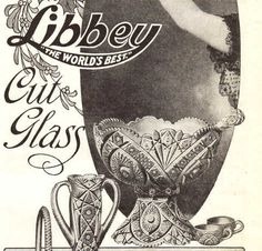 Vintage 1908 Libbey Cut Glass print ad The Christmas Toast punch bowl ...