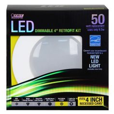 """Feit LEDR4/827 50w Replacement Dimmable 4 Inch 2700K LED Retrofit Kit - These energy efficient Performance LED Retrofit Kits are compatible with most 4"""" recessed cans. They are Energy Star Approved, easy to install, dimmable and last up to 50,000 hours. Each kit comes with a standard base adapter and a pre-mounted trim. www.bulkhydro.com"""