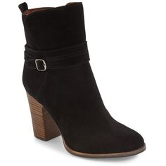 Women's Lucky Brand Latonya Belted Bootie (215 BRL) ❤ liked on Polyvore featuring shoes, boots, ankle booties, black suede, black ankle booties, black suede bootie, black suede ankle booties, black suede booties and chunky-heel ankle boots