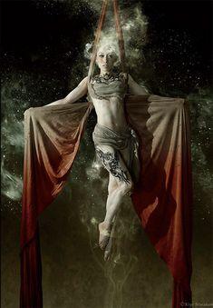 Kaminari, Japanese goddess of thunder. The Thunder Queen and the Heavenly Noise By Kiyo Murakami Aerial Dance, Aerial Hoop, Aerial Arts, Aerial Silks, Aerial Acrobatics, Japanese Goddess, Japanese Mythology, Art Du Cirque, Dark Circus