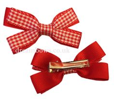 Red and white gingham ribbon hair bows on alligator clips - www.dreambows.co.uk