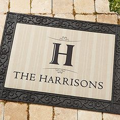 Elegant Monogram Recycled Rubber Back Personalized Doormat - For The Home - For The Home
