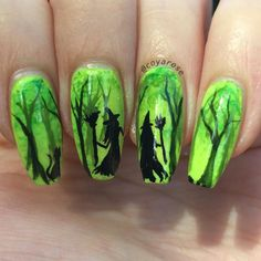 Spooky forest Halloween witch nail art