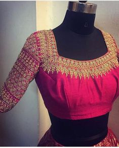All Ethnic Customization with Hand Embroidery & beautiful Zardosi Art by Expert & Experienced Artist That reflect in Blouse , Lehenga & Sarees Designer creativity that will sunshine You & your Party Worldwide Delivery. Wedding Saree Blouse Designs, Blouse Designs Silk, Designer Blouse Patterns, Choli Designs, Stylish Blouse Design, Beautiful Blouses, Indian Designer Wear, Blouse Styles, Work Blouse