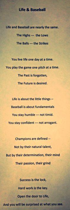 An original poem that relates life to baseball