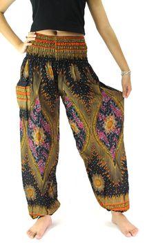 black peacock pants boho clothing hippie pants one by bangkokpants