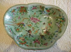 19C Antique Chinese famille rose porcelain big plate (Repaired) #098