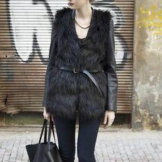 Fur vest black faux fur Jackets & Coats Vests