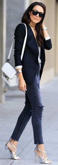 #summer #trending #outfits |   Shades Of Dark Blue + White + Pop Of Silver