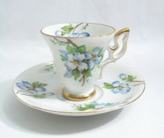 VNTG MADE IN JAPAN UNKNOWN MAKER DEMITASSE CUP & SAUCER BLUE DOGWOOD~CUTE!<br/>Cups & Saucers - 63525
