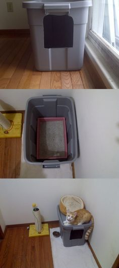 No-mess cat litter box -- sooo looking forward to not having litter all over the floor !