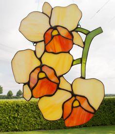Tiffany Glas Fensterbild ORCHIDEE mit 3 Blüten   eBay