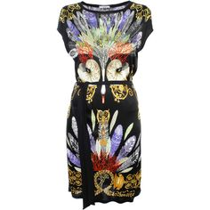Versace Collection Swan Tie Dress (760 CAD) ❤ liked on Polyvore featuring dresses, colorful dresses, coral dress, oversized dress, peacock print dress and print dress