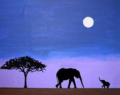 elephant animal original painting mother and baby african art