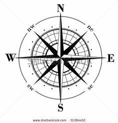 Black compass rose  isolated on whte - vector by Makhnach_S, via Shutterstock
