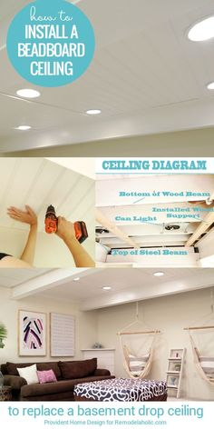 How To Install A Basement Beadboard Ceiling To Replace A Drop Ceiling   Tutorial from Provident Home Design on http://Remodelaholic.com
