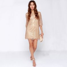 European style dress elegant gold wave dress hollow out sleeve women dress