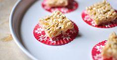 Momofuku Milk Bar: Sesame-Ginger Rice Krispies Treats  http://www.gilttaste.com/stories/3813-momofuku-milk-bar-holiday-cookie-recipes-sesame-ginger-rice-krispies-treats