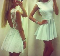 A short white dress whith lace. Classy in the front, Party in the back. ;p