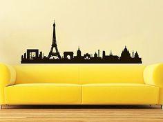Paris Skyline Wall Decal Vinyl Sticker City Silhouette France Home Decor C585