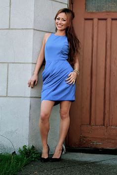 Keepsake dress in cornflower blue with side rouching. Fashion Accessories, High Neck Dress, Women's Fashion, Culture, Boutique, Lady, Blue, Shopping, Dresses