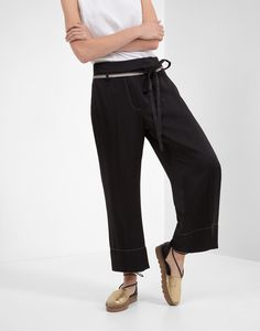 "Cady satin ""Straight Cropped"" trousers with ""Monili Tape Belt"""