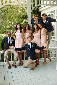 Lauren Ralph Lauren Wedding: Blush and navy make a picture-perfect match for bridesmaids and groomsmen. Interesting with the jacket and suit coat different colors Wedding Wishes, Wedding Pics, Wedding Bells, Wedding Styles, Wedding Ideas, Bridesmaids And Groomsmen, Bridesmaid Dresses, Wedding Dresses, Blue Groomsmen