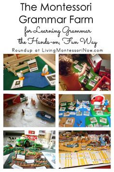 The Montessori grammar farm is a hands-on, fun way to teach vocabulary and grammar; it can be used for a variety of vocabulary and grammar lessons for toddlers through elementary-age kids; roundup post includes farms to purchase as well as DIY ideas for g Montessori Trays, Montessori Homeschool, Montessori Elementary, Montessori Classroom, Montessori Toddler, Montessori Materials, Montessori Activities, Preschool Kindergarten, Farm Activities